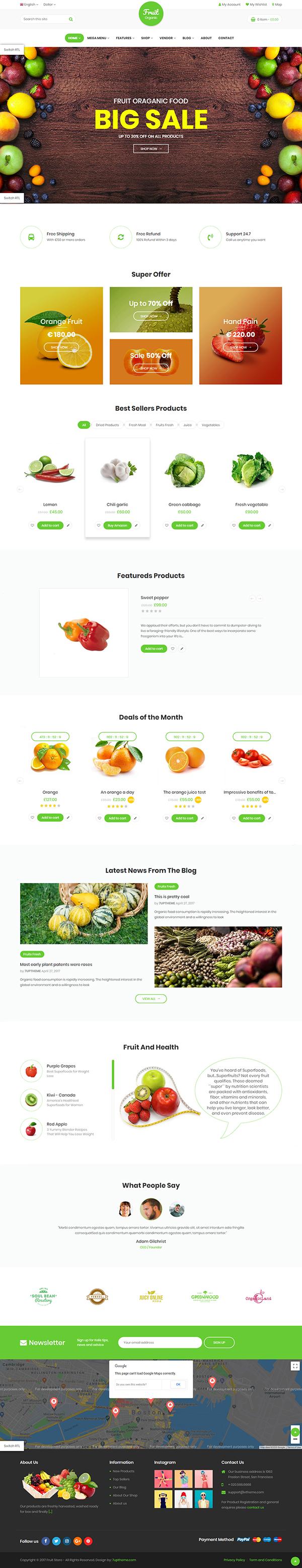 Fruit Shop - Organic Farm Food, Natural RTL Responsive WooCommerce WordPress Theme