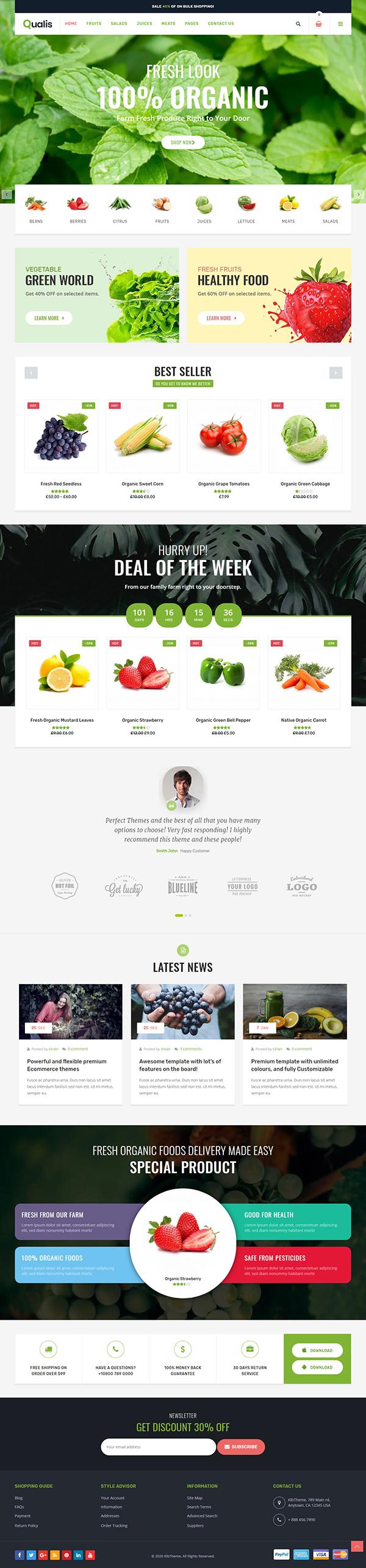 Qualis - Organic Food Responsive eCommerce WordPress Theme