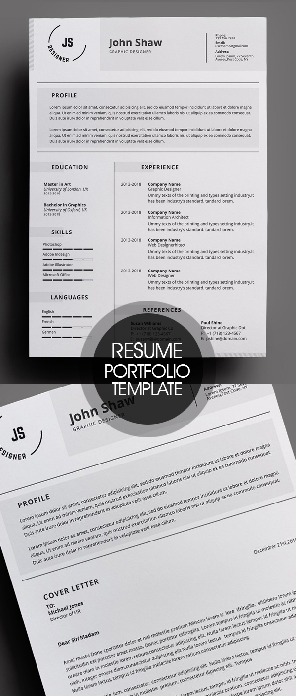 Resume and Portfolio Template 4 Pages