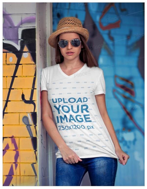 T-Shirt Mockup of a Woman Wearing a v Neck T Shirt