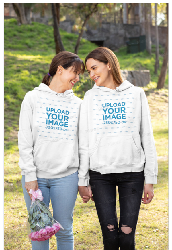 Hoodie Mockup of a Mother and Her Daughter