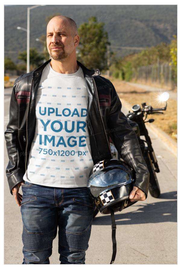 T-Shirt Mockup Featuring a Biker Carrying His Helmet