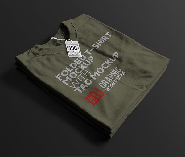 Free Folded Dark Green T-Shirt Mockup PSD