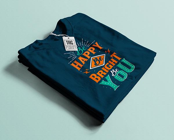 Free Folded Blue T-Shirt Mockup PSD