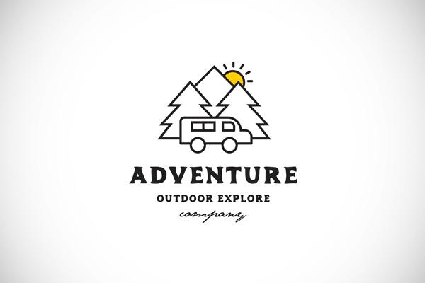 Line art adventure logo