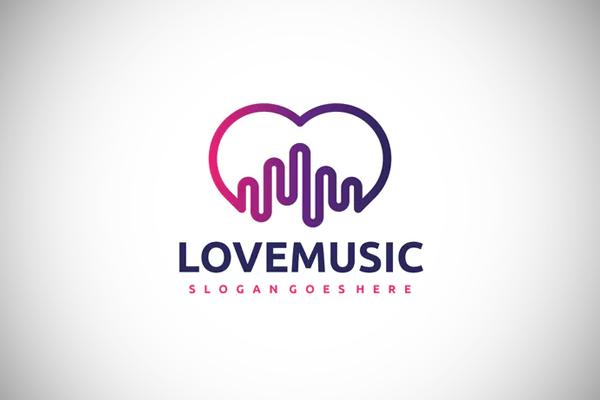 Love Music Line Art Logo