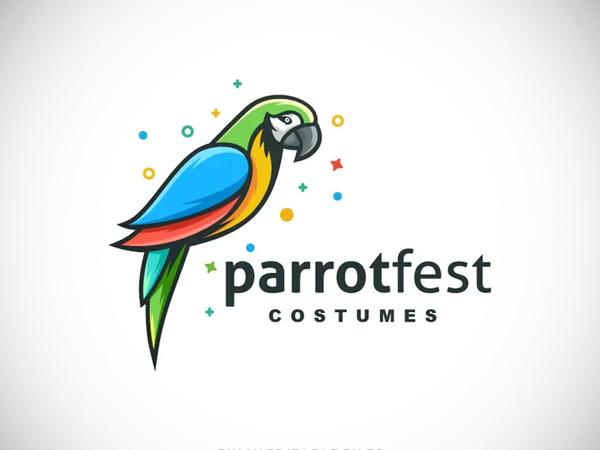 Simple Modern Parrot Color Logo template