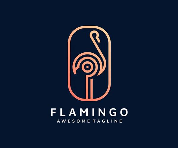 Flamingo Line Art Logo Design