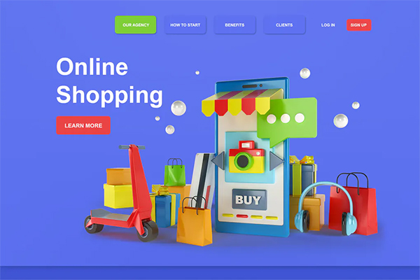 Online Shopping 3D Illustration Landing Page