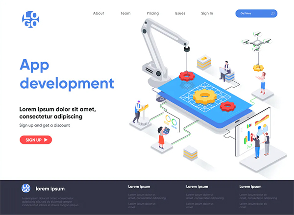 App Development Isometric Landing Page Template