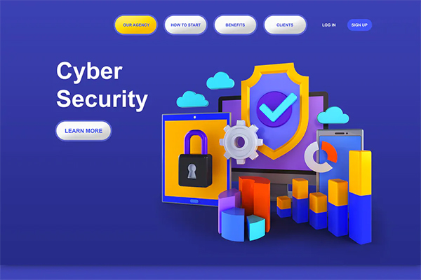 Cyber Security 3D Illustration Landing Page