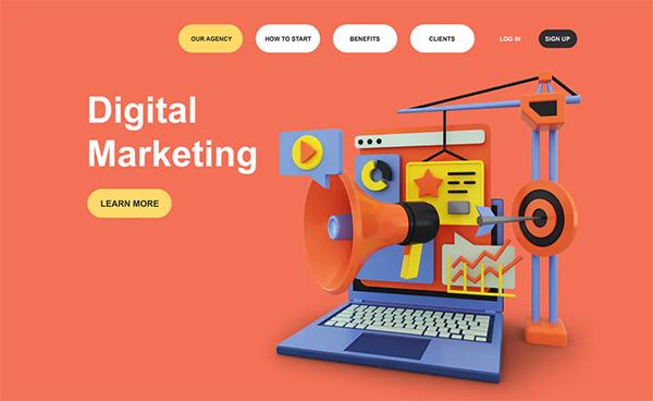 Digital Marketing 3D Illustration Landing Page