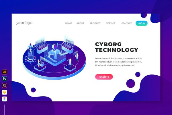 Cyborg Technology - Isometric Landing Page