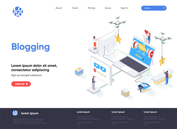 Blogging Isometric Landing Page Template