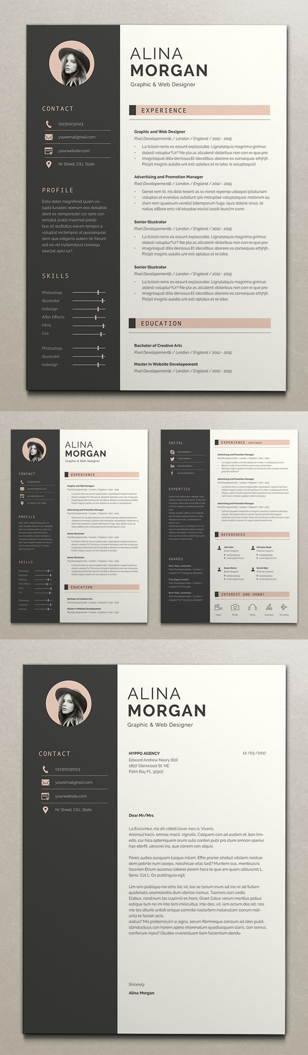 Creative 2 Pages Resume + Cover Letter