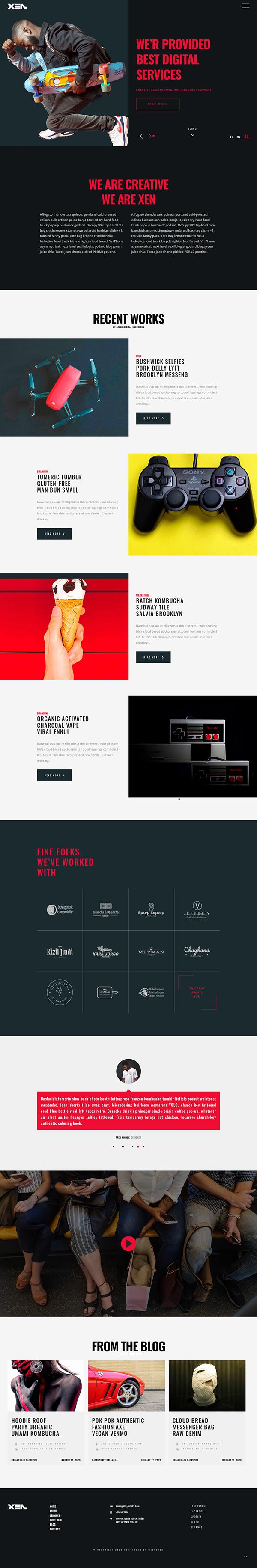 XEN - Creative Portfolio Agency WordPress Theme