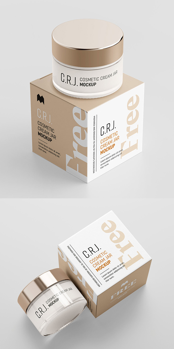 Free cosmetic cream jar mockup