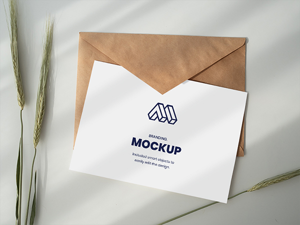 Paper Above Envelope Mockup