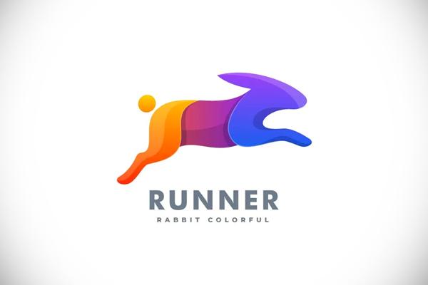 Rabbit Run Gradient Colorful Logo