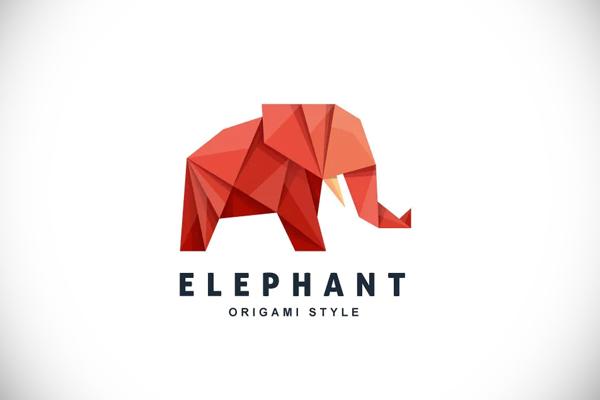 Elephant Origami Gradient Colorful Logo