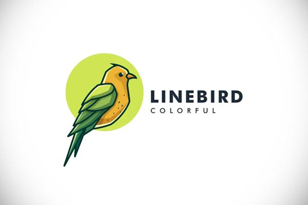 Bird Color Line Art Logo