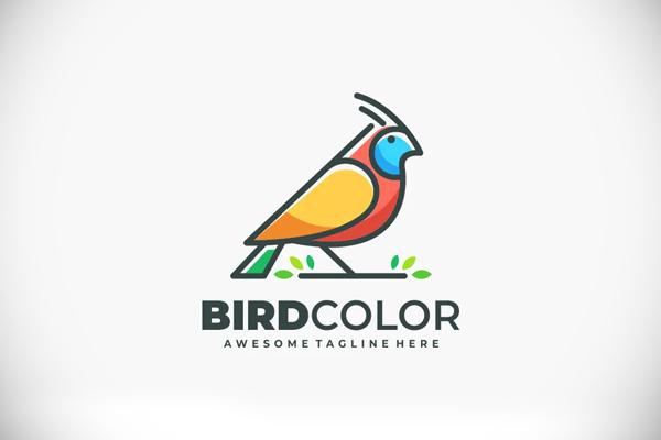 Bird Color Line Logo Vector Template
