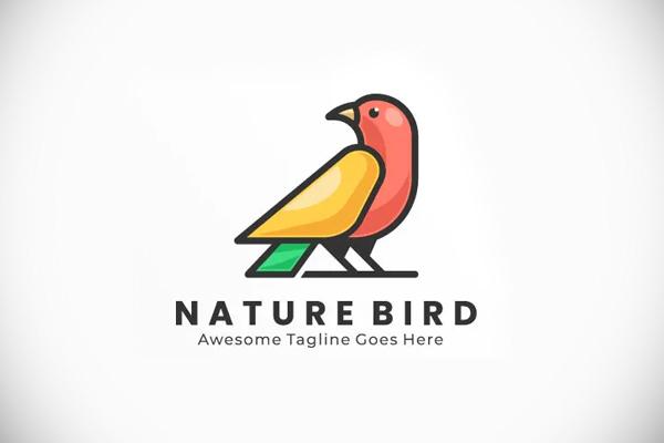 Simple Modern Bird Color Logo template