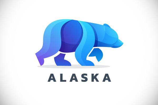 Bear Alaska Gradient Colorful Logo