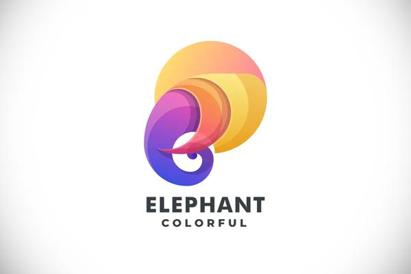 Elephant Head Gradient Colorful Logo