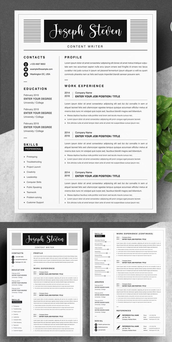 Modern Resume / CV Template For Word