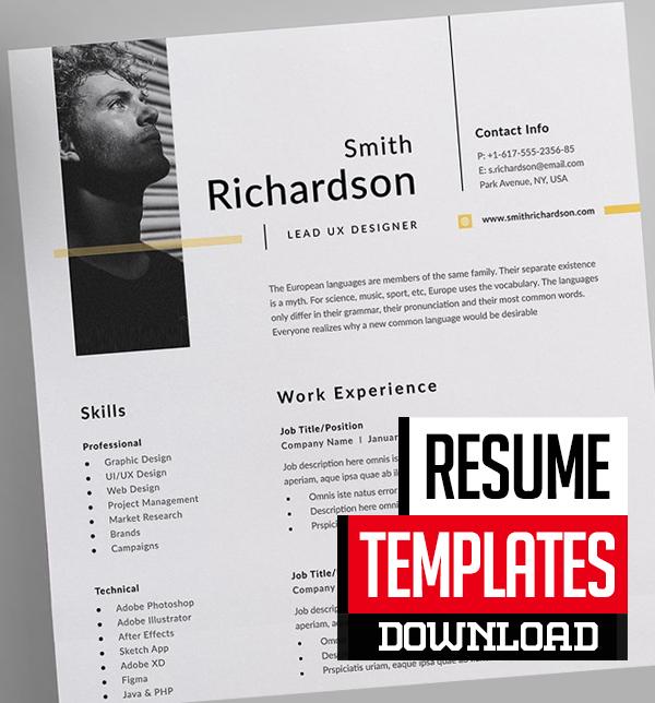 15 Professional CV / Resume Templates Download