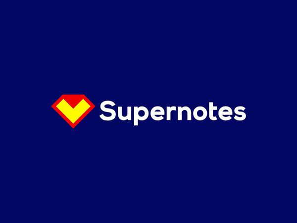 Supernotes Logo : Superman diamond + folded note