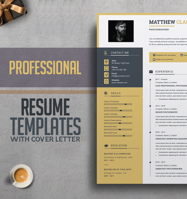 20+ Professional Resume Templates with Cover Letter