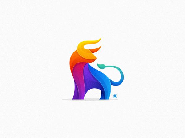 Colorful Bull Logo Design