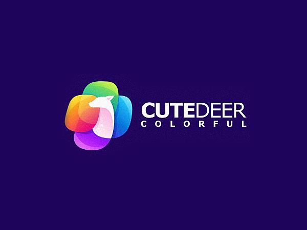 Colorful Cute Deer Logo Design