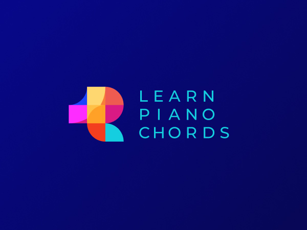 Learn Piano Chords Colorful Logo Design