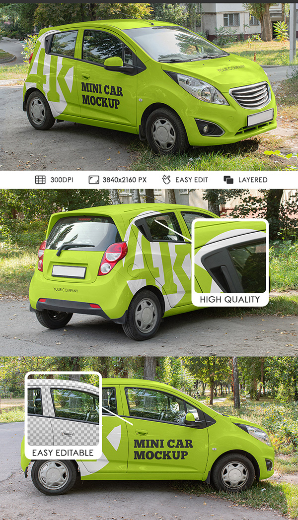 Free Mini Car Mockups PSD