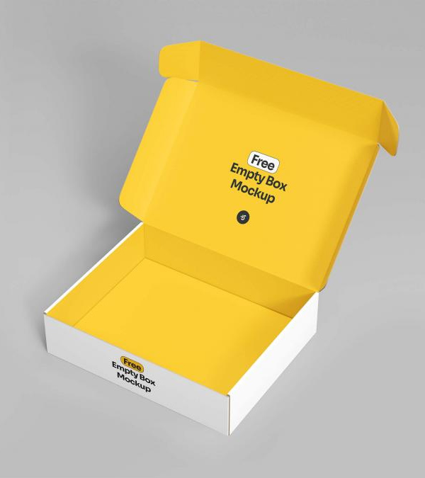 Free Open Empty Box Mockup PSD