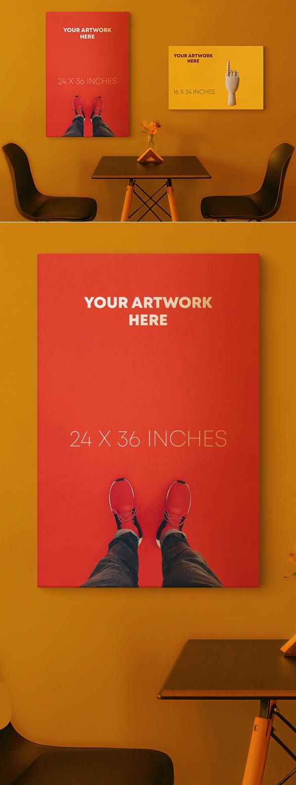 Free Canvas Poster Mockup PSD