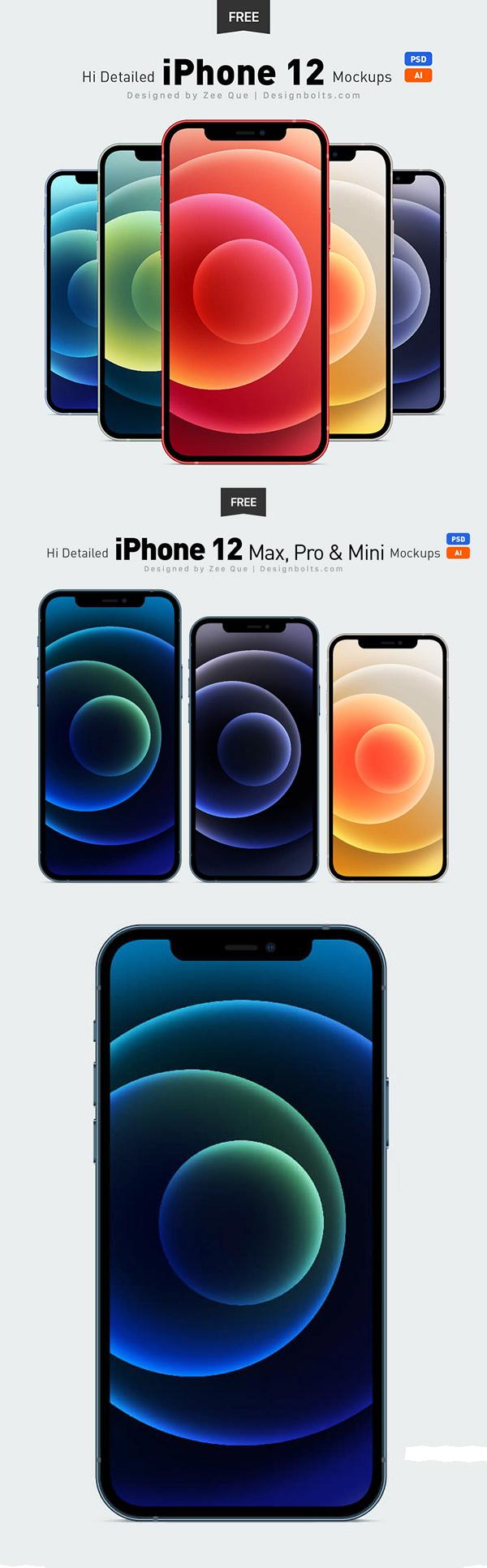 Free iPhone 12, iPhone 12 Pro & Max Ai & Mockup PSD Set