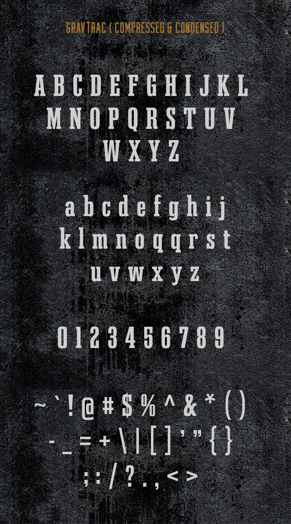Gravtrac Font Letters