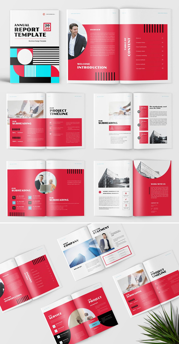 Red Annual Report Template