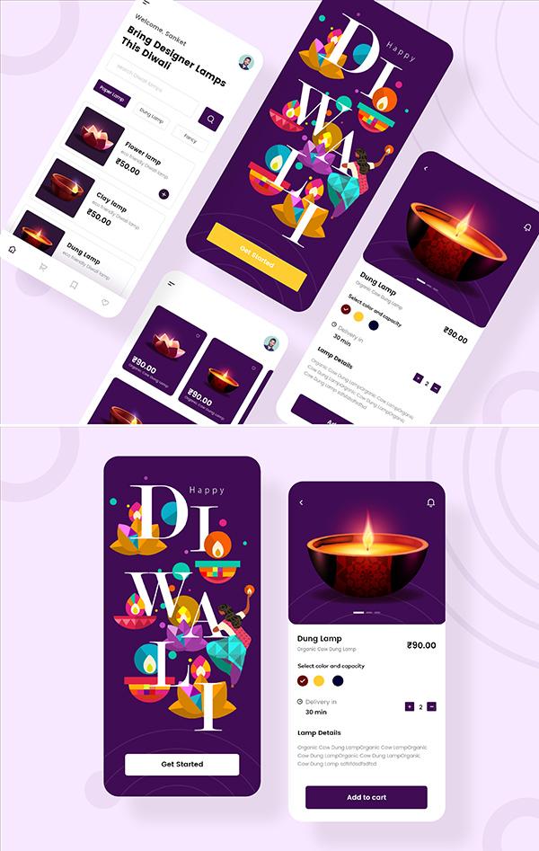 Free Diwali e-commerce App UI kit