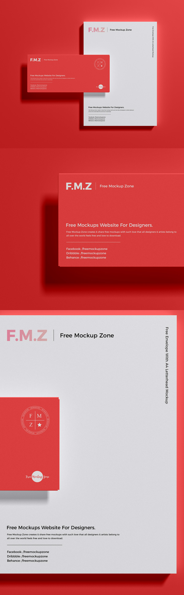 Free Envelope With A4 Letterhead Mockup