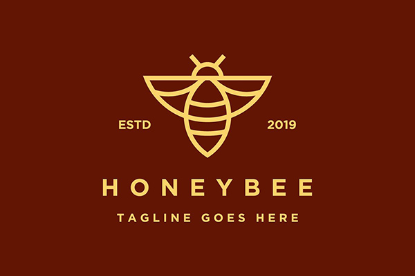 Line art honeybee logo by ZHR Creative
