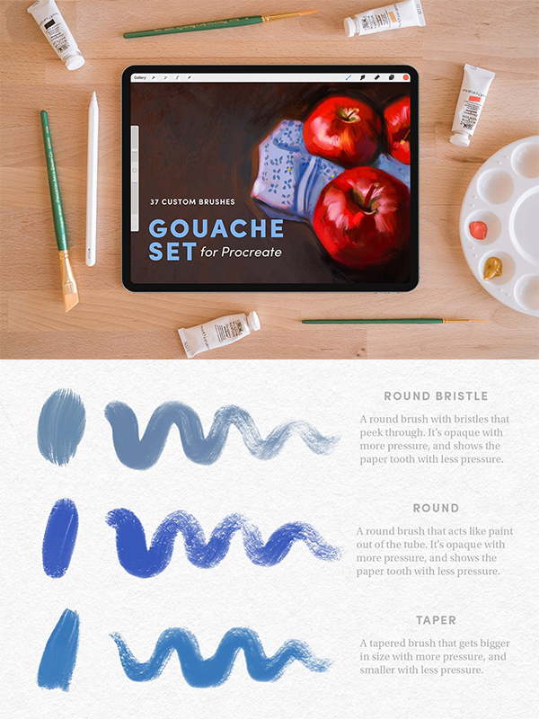 Gouache Set – Procreate Brushes