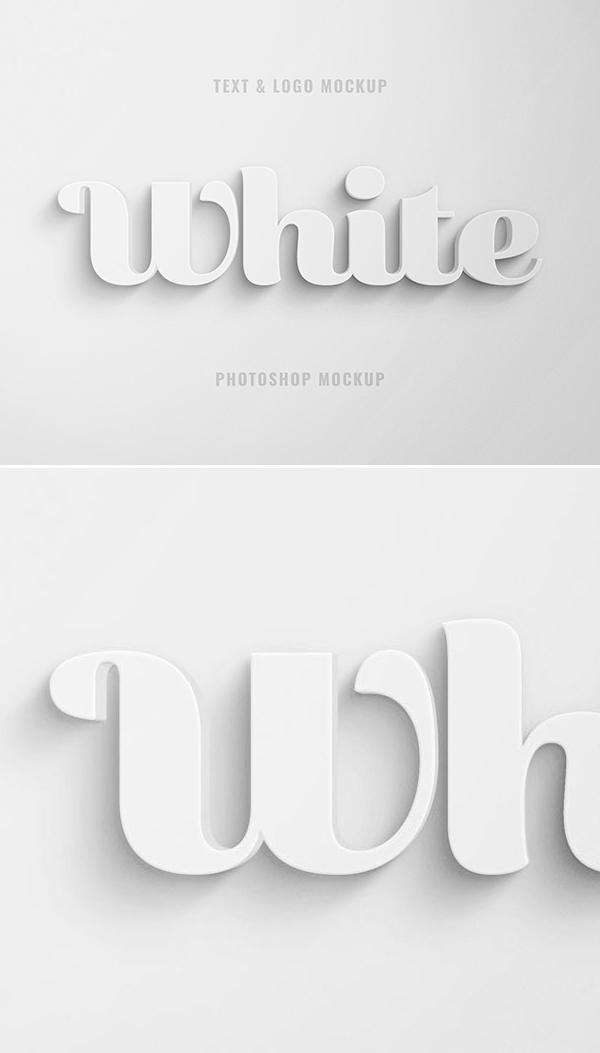 Free White 3D Text and Logo Effect