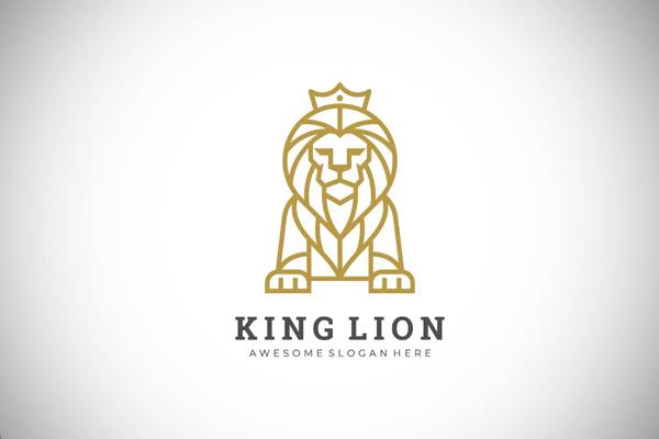 Lion Line Art Style Logo Template