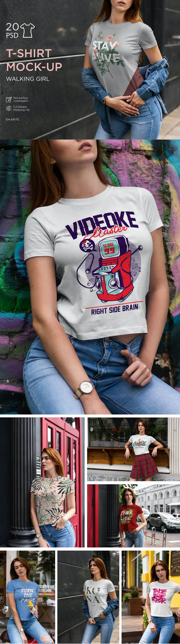 T-Shirt Mock-Up Walking Girl