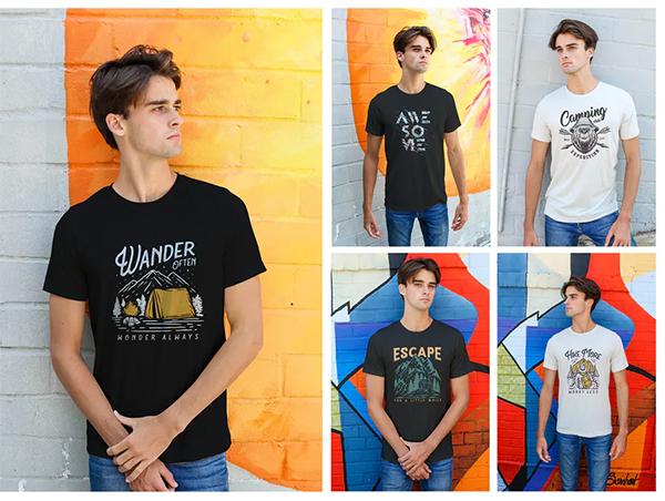 Attractive Men Urban T-Shirt Mockups